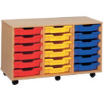 18 Tray Storage Unit MSU3 18 YL Beech Yellow 810 x 700 x 495 mm