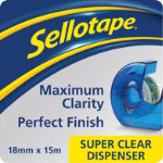 Sellotape clear tape 18mm x 15m plus dispenser pack of 6 rolls