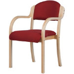Beech Effect Melamine Frame Stacking Chair with Arms Fabric Burgundy Fully Assembled
