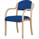 Beech Effect Melamine Frame Stacking Chair with Arms Fabric Blue