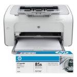 HP LaserJet Pro P1102 mono laser printer with an additional full toner
