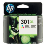 Original HP No301XL high capacity tri colour printer ink cartridge CH564EE