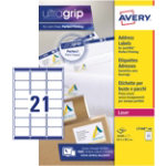 Avery Addressing Labels L7160 500 White 10500 Labels per pack Box 500