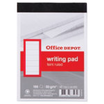 Office Depot A6 60gsm headbound ruled margined and unpunched writing pads 100 sheets 5 pk
