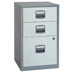 Bisley 3 Drawer A4 Filing Cabinet Silver White 672H x 413W x 400D mm