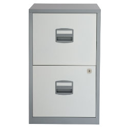 Bisley 2 Drawer A4 Filing Cabinet Silver White 672H x 413W x 400D mm