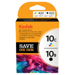 Kodak 10B 10C Original Ink Cartridge 3949948 Black 3 Colours Pack 2