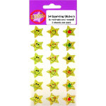 Motivation Gold Smiling Star Stickers 54 Stickers per Pack