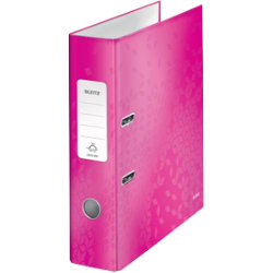 Leitz Wow 180° Lever Arch File A4 80mm Pink