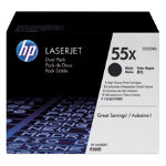 Original HP CE255XD high capacity black toner cartridge twin pack HP No 55X