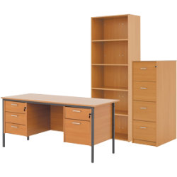 Classic bundle deal including executive desk filing cabinet and bookcase in beech-effect
