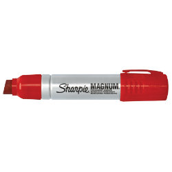 Sharpie Metal Barrel Permanent Marker Chisel Tip Red Magnum 148mm Pack 12