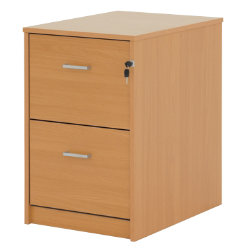 Office Depot Classic two-drawer filing cabinet beech-effect