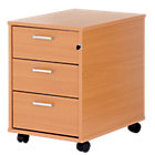 Classic Plus Three Drawer Mobile Pedestal In Beech Effect