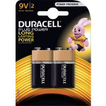 Duracell Power Plus MN1604 Alkaline 9V Battery Pack of 2