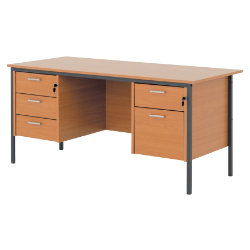 Clic 1500mm Dual Pedestal Executive Desk In Beech Effect