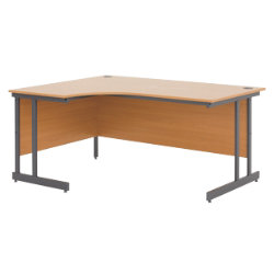 Left hand desk classic beech 725 x 1600 x 800 mm by viking - Viking office desk ...