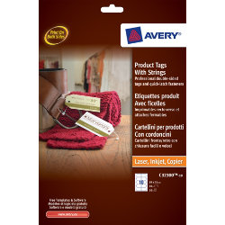 Avery Product Tags with Strings 89 x 51mm 10 Tags per Sheet C32300 10