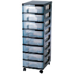 Really Useful Box Storage Unit 8 x 7 Litre Black Tower Clear Drawers