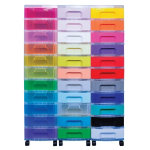 Really Useful Storage Unit 33 x 7 Litre Clear Tower Rainbow Drawers