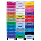 Really Useful Box storage unit clear tower with 33 x 7 litre rainbow drawers