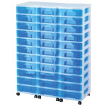 Really Useful Box storage unit clear tower with 33 x 7 litre blue drawers