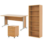 Prima bundle deal including desk Mobile 3 drawer pedestal and tall bookcase in beech effect
