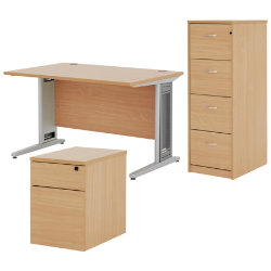Dams Largo bundle deal including desk pedestal and filing cabinet in beech-effect