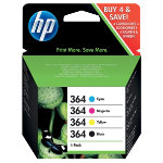 Original HP No364 black and tri colour cyan magenta yellow printer ink multipack