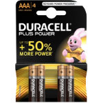 Duracell Plus Power alkaline 15V AAA batteries pack of 4
