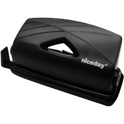Niceday Plastic Two Hole Punch Black Up to 12 Sheet Capacity