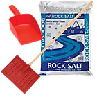 Snow shovel rock salt and scoop kit