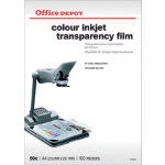 Office Depot A4 transparency film for colour inkjets 125 micron Pack of 50
