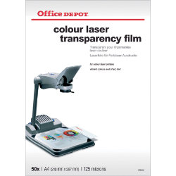 Office Depot A4 clear transparency film for colour laser printers  125 micron  Pack of 50