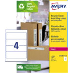 Avery Box Of 100 Recycled Short Filing Labels For Wide Files 4 Labels Per Sheet