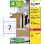 Avery Box Of 100 Recycled Short Filing Labels For Narrow Files 7 Labels Per Sheet