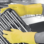 Polyco Optima Latex Flock Lined Chemical Gauntlet Yellow Size 8 85 Medium