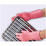 Polyco Optima Latex Flock Lined Chemical Gauntlet Pink Size 8 85 Medium