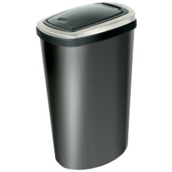 Addis Deluxe Press Top Bin Stainless Steel Black 40 ltr