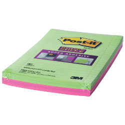 Post itSuper Sticky Notes Assorted Ultra Lined 125 x 200mm
