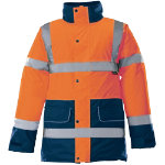 Alexandra Hi Vis Hi Viz High Visibility unisex orange navy contrast trim coat size S