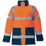 Alexandra Hi vis unisex contrast orange and blue trim coat size M