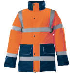 Alexandra Hi vis unisex contrast orange and blue trim coat size XL