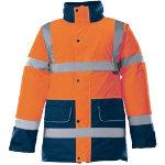 Alexandra Hi vis unisex contrast orange and blue trim coat size L
