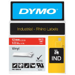 Dymo Rhino Labels White on Red 12mm x 55m Vinyl