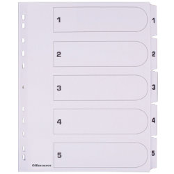 Office Depot Mylar Dividers White Board A4 5 Part 1 5 Numbered Set