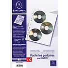 A4 3 CD DVD punched pocket index sleeves pack of 10