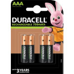 Duracell AAA NIMH 750 mAh Rechargeable Batteries 4 per pack