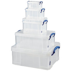 Really Useful Box polypropylene plastic storage boxes  big value five boxes in one deal in Clear