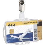 Pack 25 Clear Dual Security ID Holders with Clip
